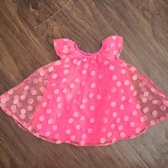 Hot pink polka dot dress